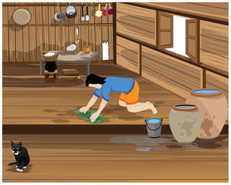 one girl cleaning home vector design