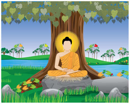 The Buddha meditated under the Bodhi tree vector design