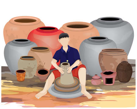 isolated one agriculturist work with earthenware vector design