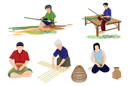 agriculturist weaving a container by hand vector design