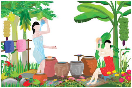 two lovely woman take a bath by bowl vector design Illustration