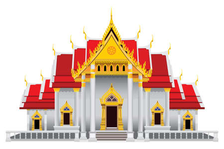 isolated Beautiful Buddhist church on white background vector design