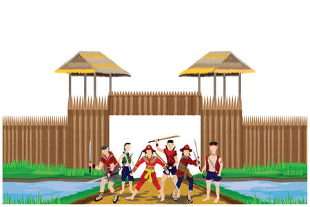 Thai ancient soldiers vector design