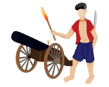 ancient soldier with cannon vector design