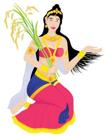 Phra Mae Phosop the lady in ilterature vector design Ilustracja