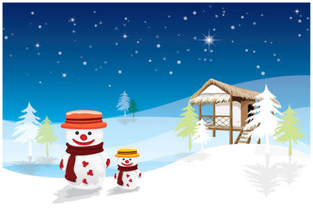two snowman in front of straw hut vector design