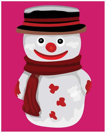 lovely snow man on pink background vector design Ilustracja