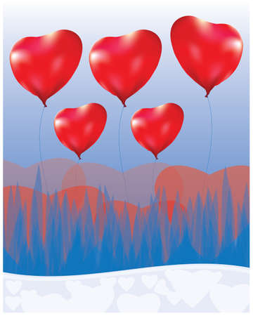 red heart balloon on blue background vector design