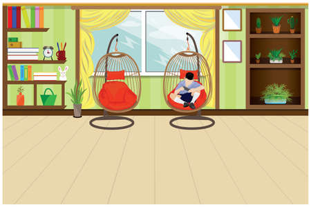 one child with mobile phone in the  living room vector design