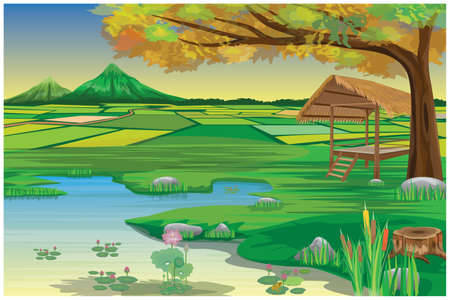 straw hut  with paddy field at countryside vector design