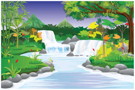 beautiful waterfall in forest vector design