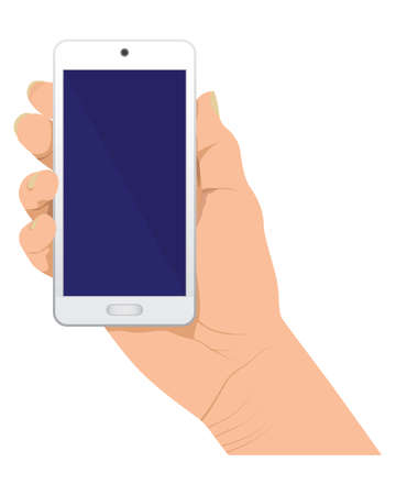 isolated hand and mobile phone on white background vector design