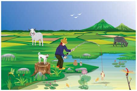 young man fishing at countryside vector design