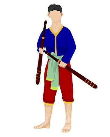 Ancient strong man warrior cartoon shape vector design Vecteurs