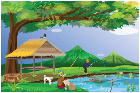two young man fishing at countryside vector design