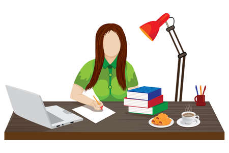 isolated business woman working from home vector design Ilustracja