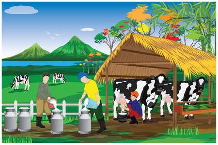 agriculturist Milk from cow at farm vector design Ilustracja