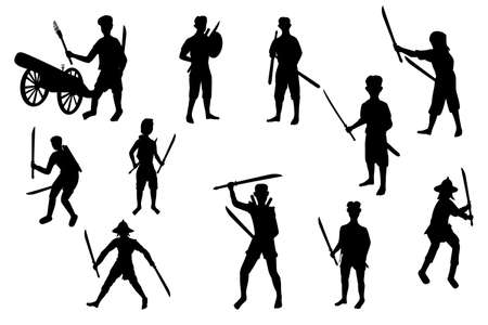 silhouette Ancient strong man warrior cartoon shape vector design Illustration