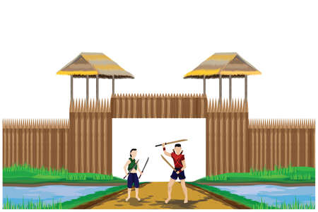 Ancient male and female warriors Standing in front of the barracks Ilustracja