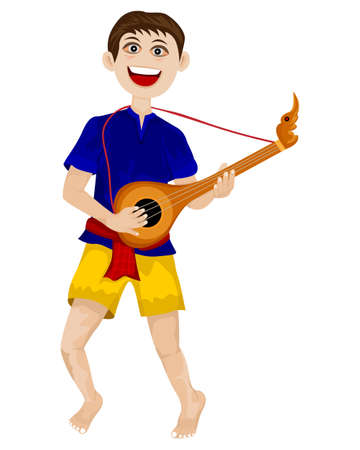 isolated young man with mandolin on white background vector design
