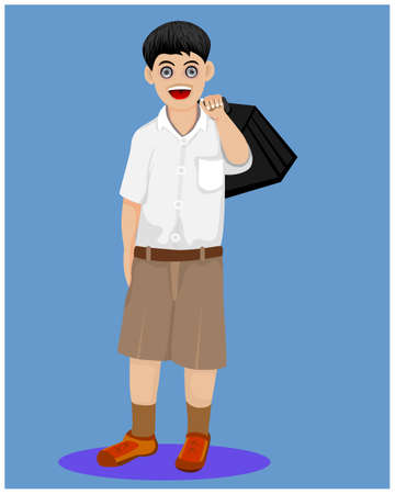 isolated boy student on blue background vector design