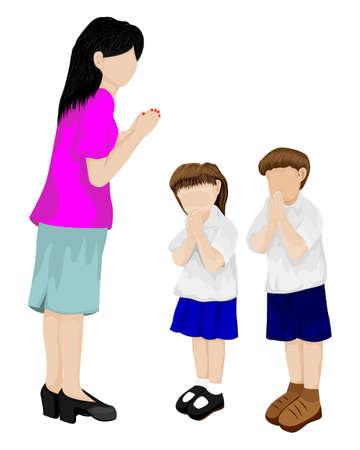 Students pay respect to teachers vector design Ilustracja