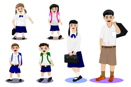isolated girl and boy students on white background vector design Ilustracja