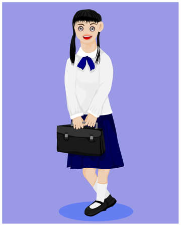 isolated girl student on blue  background vector design