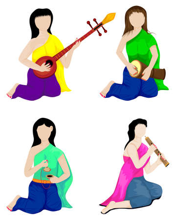 beautiful woman with thai instrument vector design