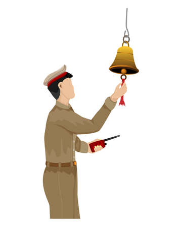 isolated train staff man  ring the bell on white background vector design