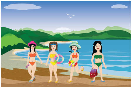 four beautiful woman standing on the sea beach vector design Vettoriali