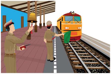 train staff work at train station vector design