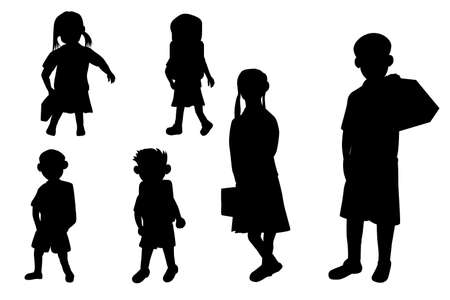 silhouette girl and boy students on white background vector design Ilustracja