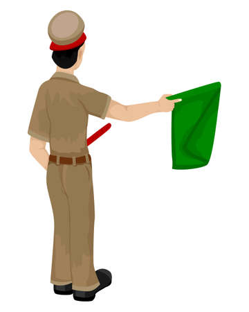isolated train staff man with flag on white background vector design Ilustracja