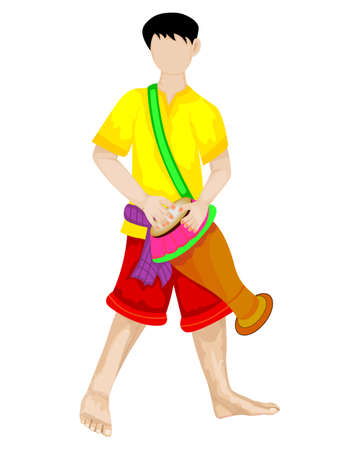 isolated young man with thai drum vector design