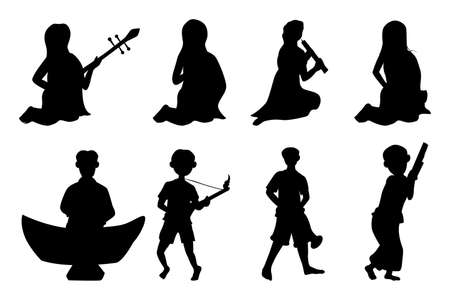 silhouette young man and woman with thai instrument vector design