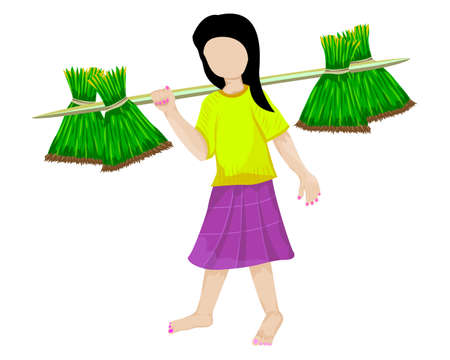 young girl farmer with small rice plant vector design Ilustracja