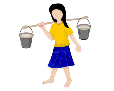 young girl with water pot vector design