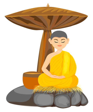 isolated monk in Buddhism meditation vector design