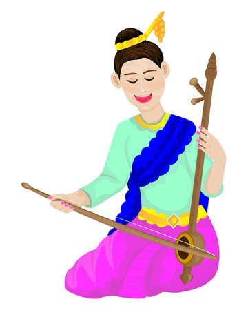 Beautiful girl playing music by fiddle instrument vector design
