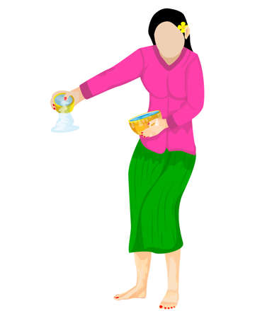 isolated beautiful woman with Water bowl on white background vector design
