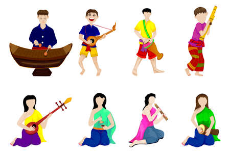 young man and woman with thai instrument vector design Ilustracja