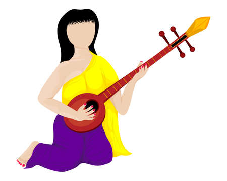 isolated lovely woman with mandolin on white background vector design