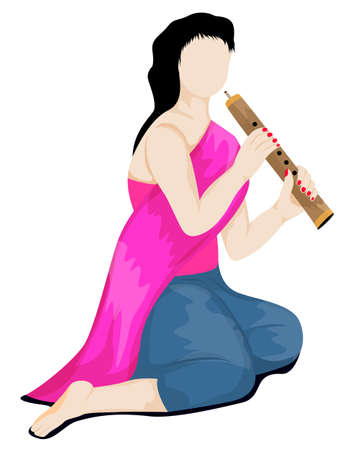 isolated Beautiful girl playing Thai musical instruments,flute vector design