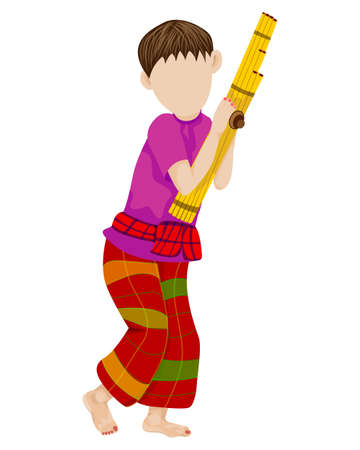 young man with Lao reed mouth organ vector design Ilustracja