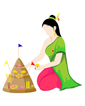 isolated woman make beautiful sand pagoda ,Merit making traditions vector design
