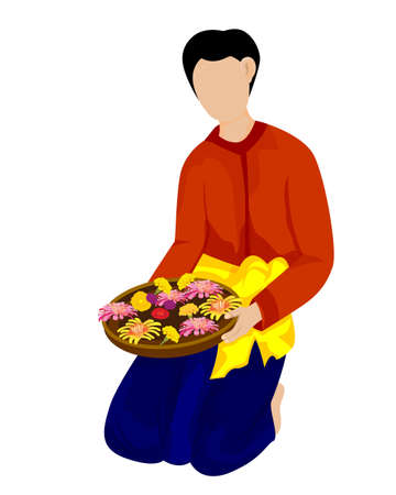 young man with flower basket vector design