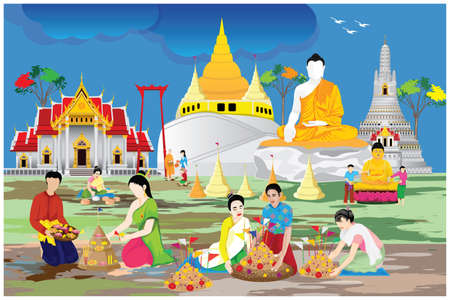 people make beautiful sand pagoda in temple on Songkran festival ,Merit making traditions vector design