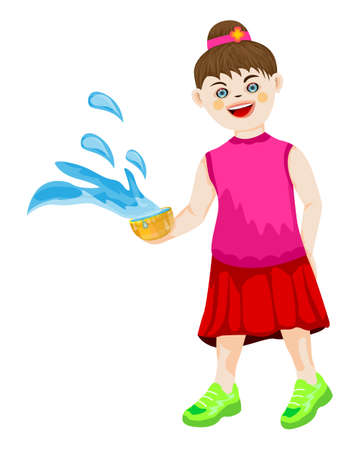 isolated girl with Water bowl on white background vector design