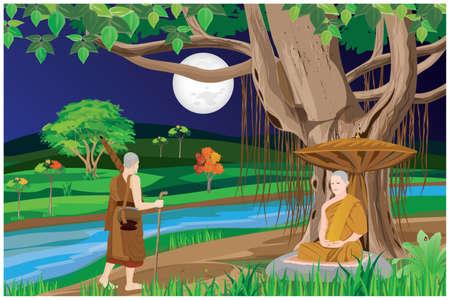 pilgrimage the monk in buddhism vector design
